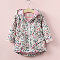 Kids Girls Clothes Brand Autumn Spring Coat Print Jackets Hooded flower Children Outwear fashion 2017