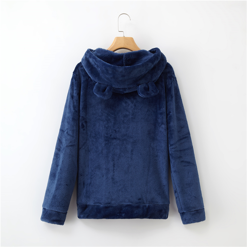 Women's Flannel Hoodies Sweatshirts Lovely With Bears Ears Solid Warm Hoodie Autumn Winter Casual Campus Pullovers Coat 16