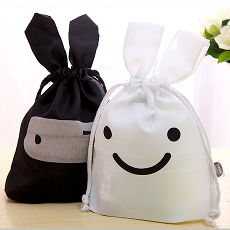 2pcs/lot New Fashion Creative Lovely Rabbit Shaped Ninja Pattern Storage Bag with Drawstring Black and White Collecting Bag