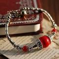 Classical Original Tibetan Silver Bracelet Red Coral Beads100% DIY Design Simple Handmade Fortune-bringing Ethnic Jewelry
