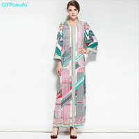 2017 Autumn Boho Holiday Maxi Dresses Women S Long Sleeves Floral Print Casual Sundress High Quality
