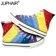 JUP Shoes Mens Males Great Canvas Color High Leisure Shoes Hand-painted Gradient Color Flat Footwear Kad n Ayakkab Espadrilles