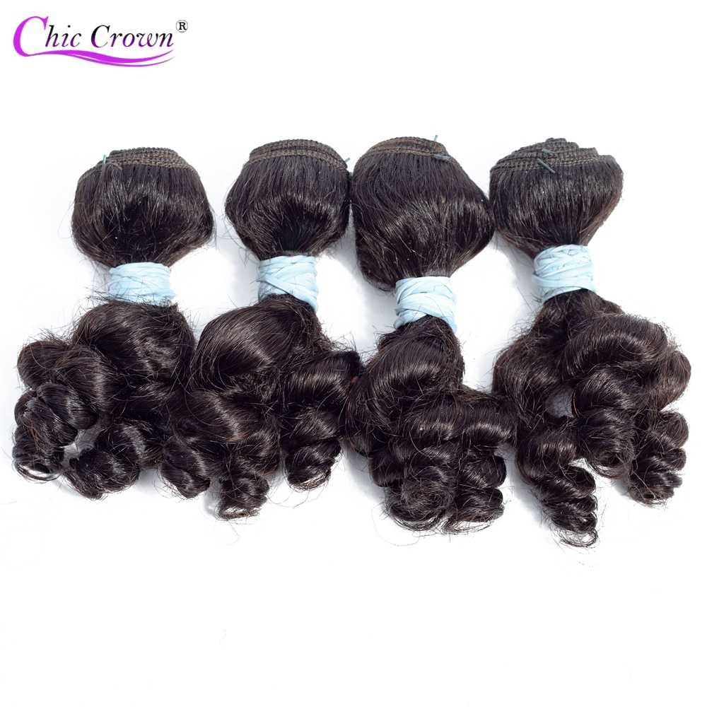 Chic Crown Bouncy Curly 4Pcs/lot Remy Human Hair 100g/Lot Funmi Hiar 2/3 Lots for A Wig Double Weft No Shedding Funmi Human Hair