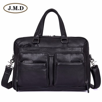 J.M.D 100% Genuine Leather Laptop Bag Men's Black Briefcase Handbag 7373A