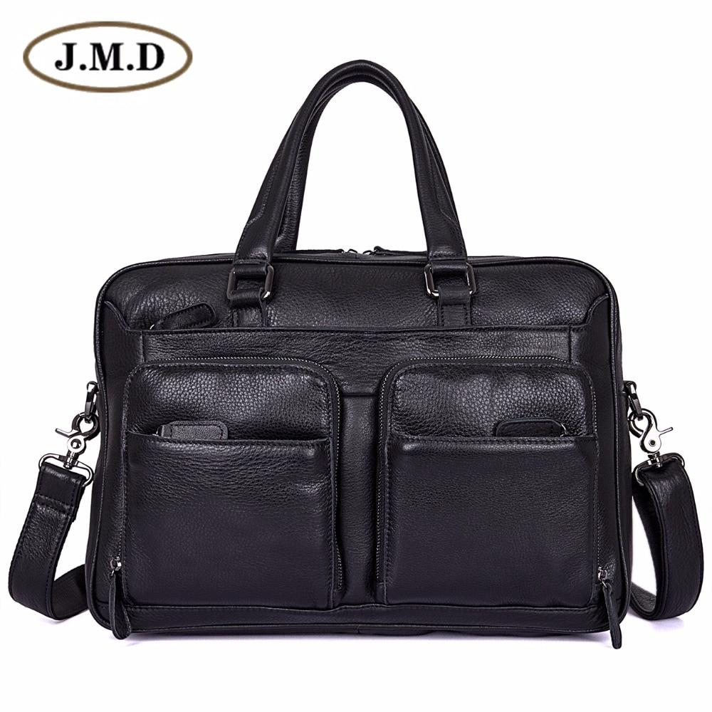 J.M.D 100% pochette d'ordinateur en cuir véritable sac à main porte-documents noir pour hommes 7373A