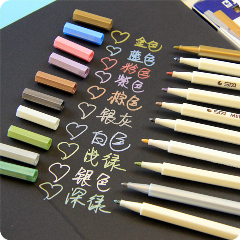 10 Pcs/lot Doodle Drawing Marker Pens Metallic Pen For Black Paper Art Supplies Zakka Stationery Material School Brushes