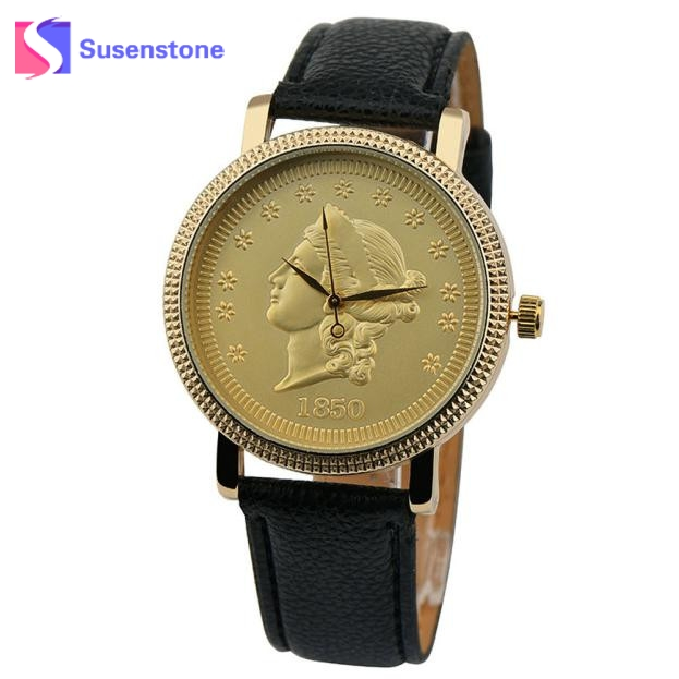 Creative New Coin Pattern Design Women Watch Leather Band Analog Quartz Vogue Wrist Watches relogio feminino Female Clock time cute cat pattern women fashion watch 2017 leather band analog quartz round wrist watch ladies clock dress watches relogio time