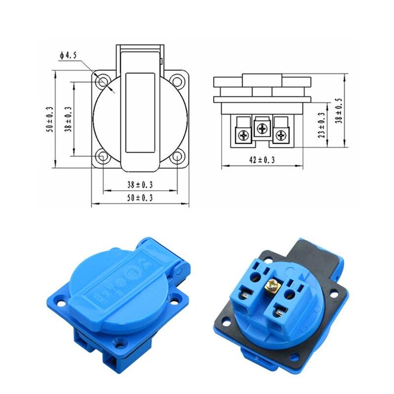 Синяя панель управления генератором 16A 250 В, немецкая водонепроницаемая розетка, Европейский пылезащитный Разъем для домашнего компьютера, ...