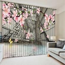 Custom made curtains 3d creative curtains space flower blackout 3d stereoscopic curtains drapes decoration window curtains