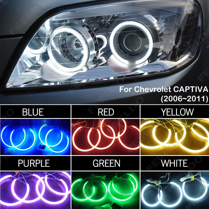 6-Color Car Headlight CCFL Angel Eyes Halo Rings Kits For Chevrolet CAPTIVA(2006-2011) #J-3272 2013 r3 with keygen vd tcs cdp pro plus bluetooth auto diagnostic tools full all 8 car cables dhl free shipping