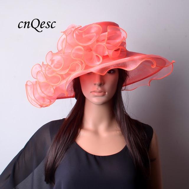 c859bfb2a56 New arrival coral orange pink Large crystal organza hat sinamay fascinator  for formal dress