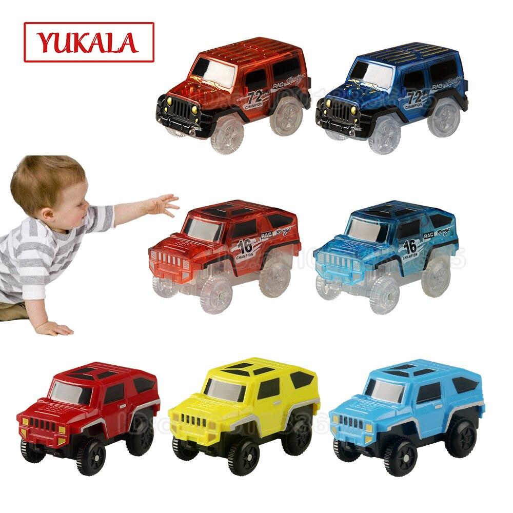 YUKALA Track Car Electronic LED Car Toys Flashing Lights Rail Cars Set Educational Model To Slide Toy For Children Boy Gifts