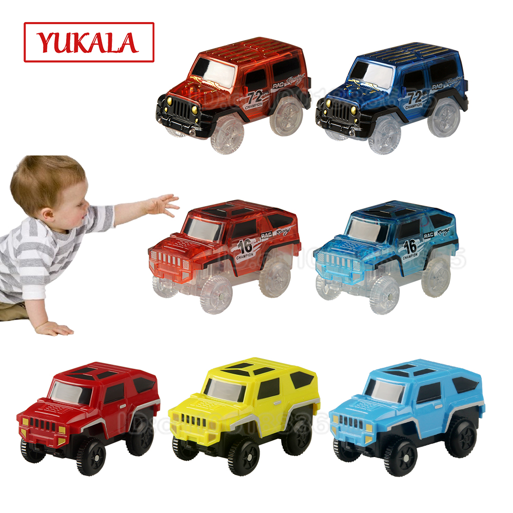 YUKALA Track <font><b>car</b></font> <font><b>Electronic</b></font> LED <font><b>Car</b></font> <font><b>Toys</b></font> Flashing Lights rail <font><b>cars</b></font> set Educational Model to Slide <font><b>toy</b></font> for children boy gifts image