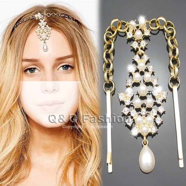 New Gold Pearl Crystal Pendant Bindi Hair Clip Chain Matha Tikka Patti Indian Wedding Head Dress
