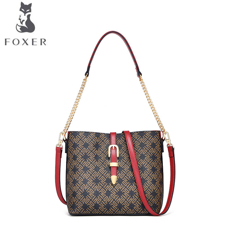 FOXER brand handbag 2018 new autumn and winter messenger bag Europe and America wild shoulder bag Bucket bag stylish and simple bucket bag wild shoulder messenger bag