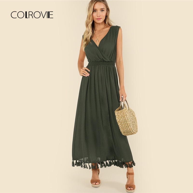COLROVIE Armée Vert Col en V Fringe Tassel Sexy Maxi Robe Vintage 2018 Solide Élégant Parti Longue Robe Taille Haute Femmes robes