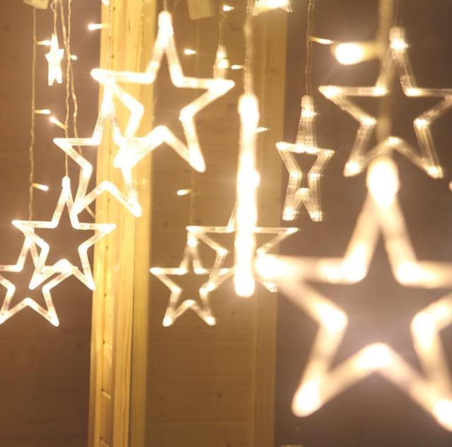 Led glow luminous star string curtain lights curtain party for 6 star window christmas decoration lights
