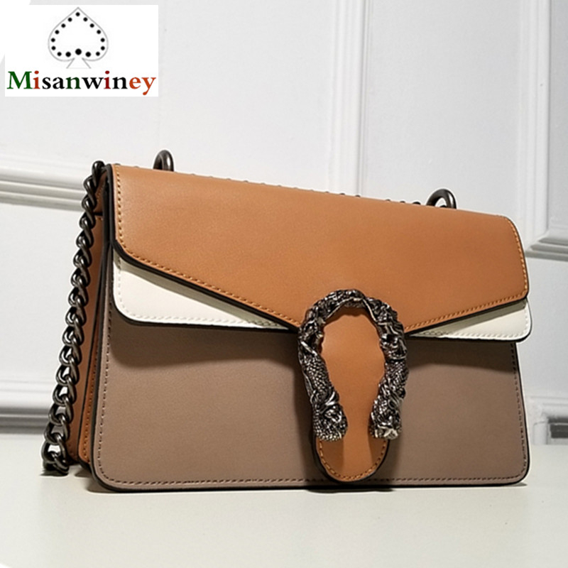 Best Quality Fashion Chain Casual Shoulder Bag Messenger Bags Retro Hit Color Leather Women BagHandbag Lady Flap Motorcycle Bag