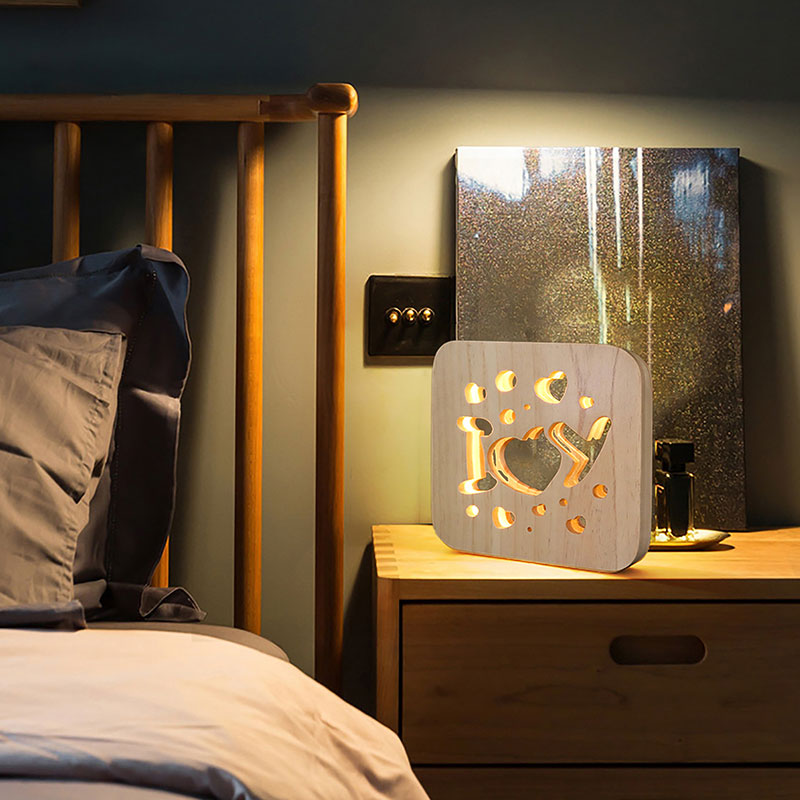 Warm Light Wooden Night Light Children's Bedroom Decoration USB LED Energy-saving Home Bedside Table Lamp Christmas Gifts