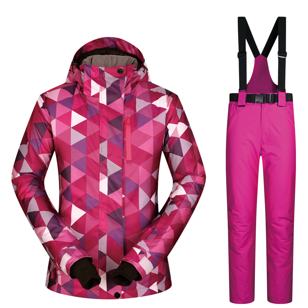 Ski Suit Women Set Windproof Waterproof Warmth Clothes Jacket Ski Pants Snow Clothes Winter Skiing And Snowboarding Suits Brands ski suit men winter 2018 thermal waterproof windproof clothes snow pants ski jacket men set skiing and snowboarding suits brands