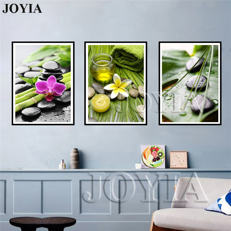 US $5.82 45% OFF|Wall Art Decor Leisure Paintings Green Bamboo Black  Massage Stone Prints SPA Gallery Artwork Living Room Bedroom Decor No  Frame-in ...