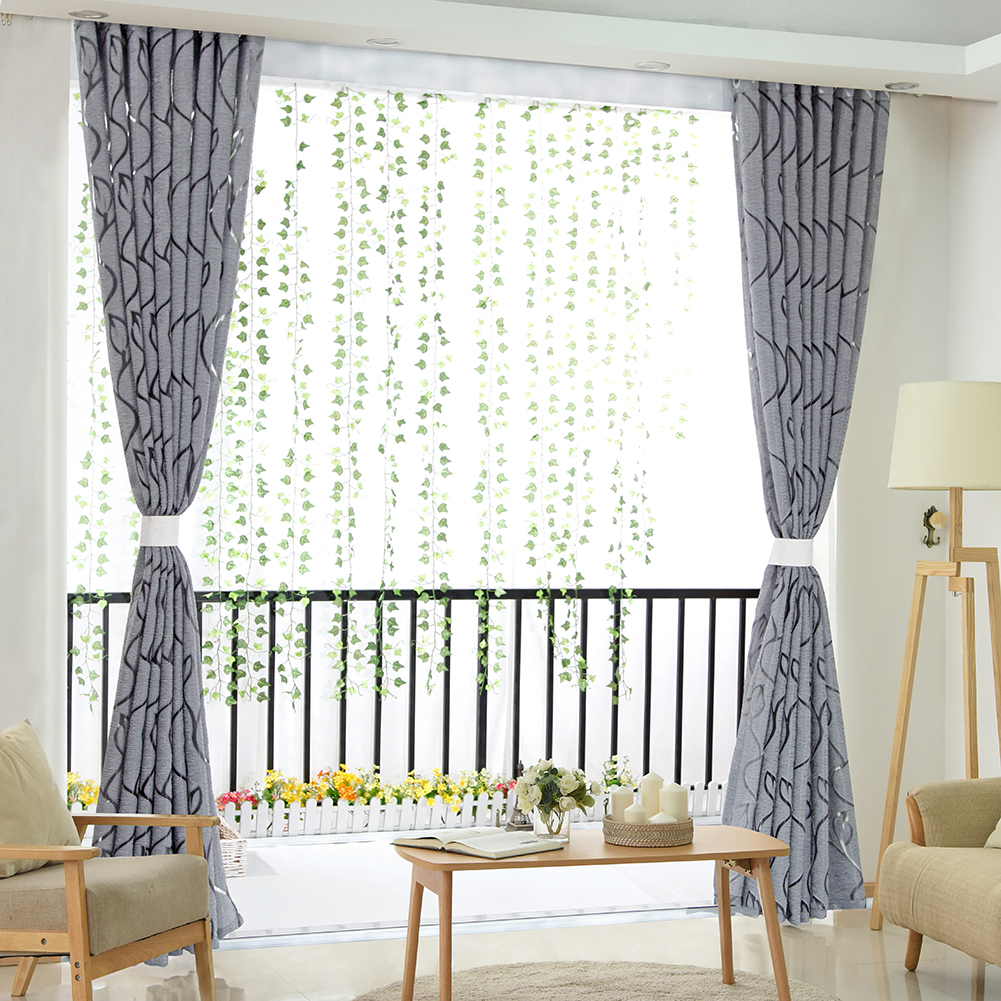 Online Shop Floral Half Shading Cirrus Vine Leaf Curtains Embroidered  Window Screening Tulle Bedroom Partition Panels Curtains For Room |  Aliexpress Mobile