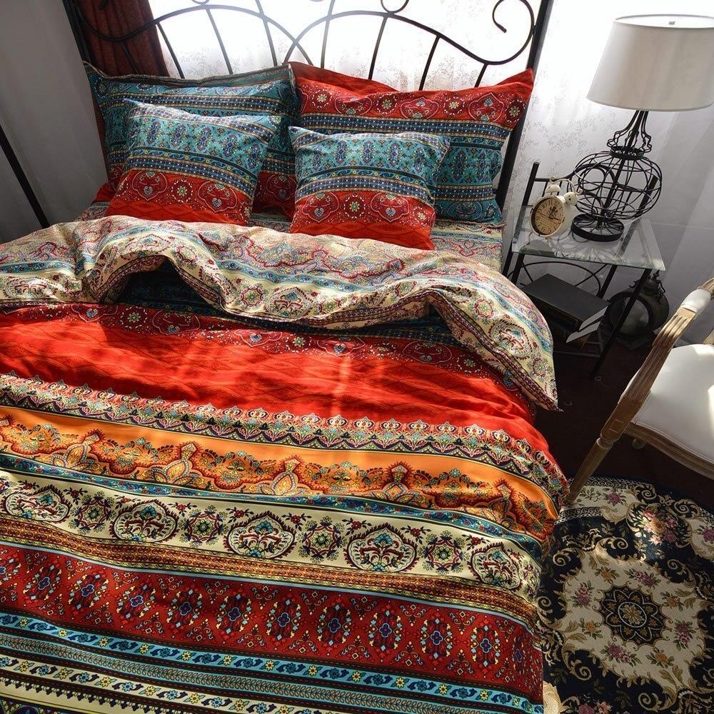 3Pcs Bohemia Retro Printing Bedding Ethnic Vintage Floral Duvet Cover Boho Bedding 100% Brushed Cotton Bedding Sets