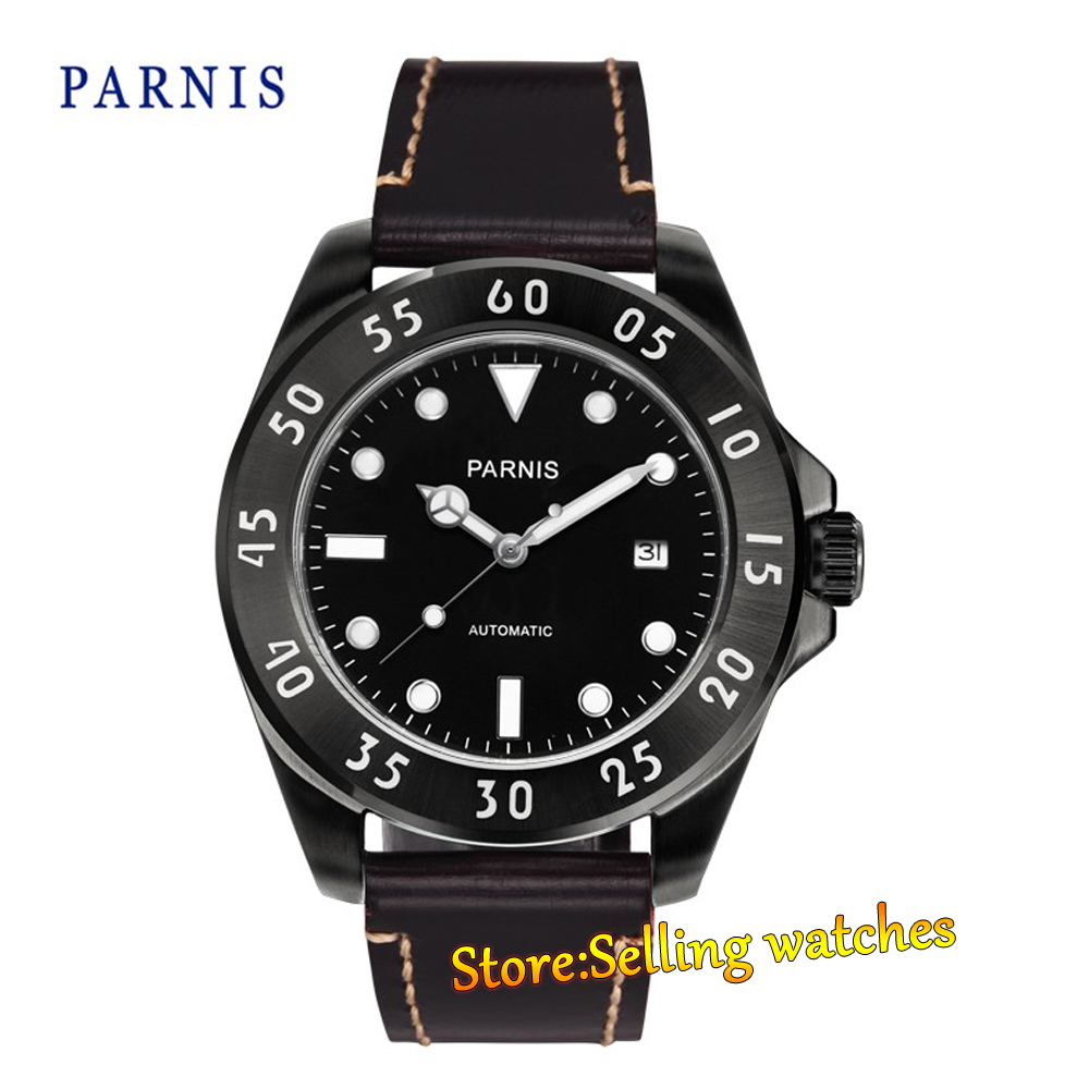 Parnis 43mm mechanical steel MIYOTA automatic sapphire Mens Bezel Watch conception of patch antenna at wide band