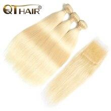 QT Hair 613 Blonde Bundles With Closure Brazilian Straight Hair Bundles With Closure Remy Human Hair Weave Extenstions