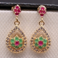 Trendy Waterdrop Hollow out Flower Drop imitation Ruby&Emerald Gem CZ Crystal Gold Plated Earrings 2colors