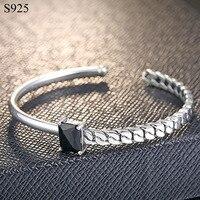 Титан Настоящее чистого твердого 925 серебро Браслеты для Для женщин jewelry черный кубический циркон Винтаж в стиле панк-рок женские hand band
