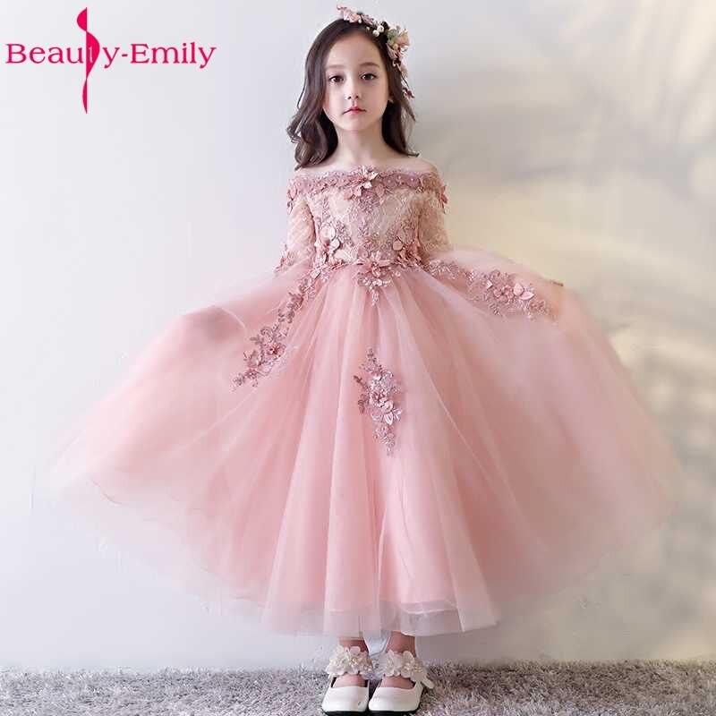 Belleza Emily Rosa Cuentas Vestidos de flores de niña 2017 Appliques ...
