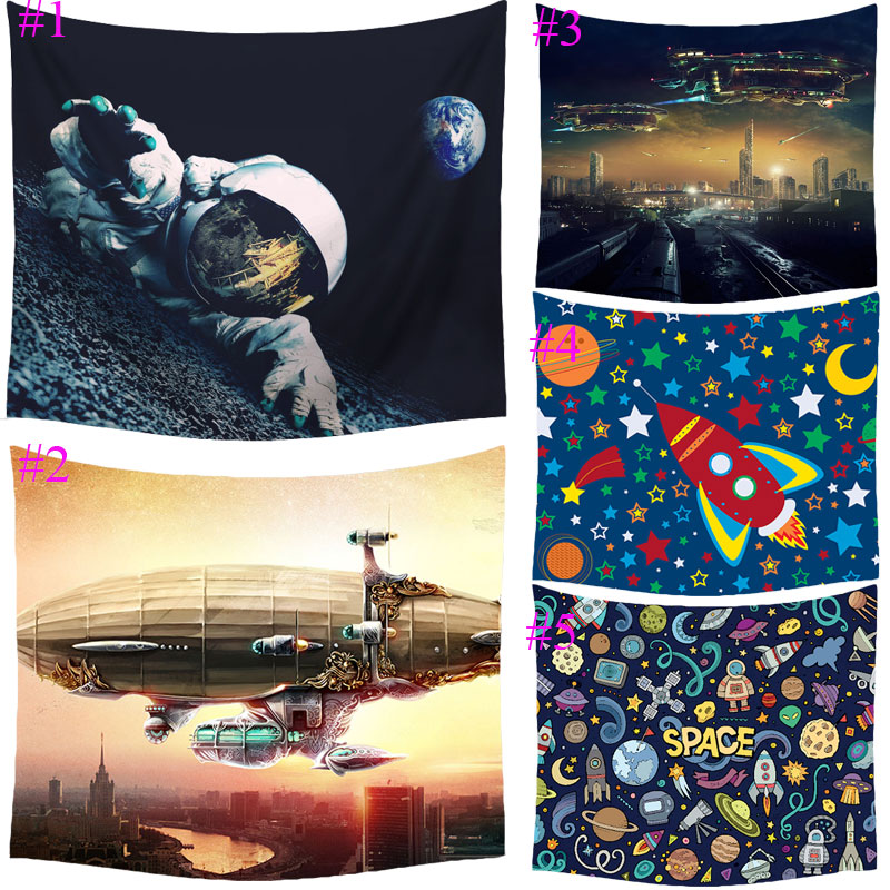 Comwarm Future Technology exploration Cartoon Pattern Tapestry Beach Throw Yoga Rug Wall Hanging Gobelin Modern Home Decor Craft