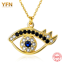 Genuine 925 Sterling Silver And 18K Gold Evil Eye Necklace Fashion White Blue CZ Women Pendant
