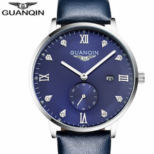 GUANQIN Watches Luxury Men's Quartz Watch Fashion Casual Calendar Men Sport Waterproof Leather Wristwatch Reloj Hombre