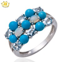 Altai Aquamarine And Opal Gemstone Solid 925 Sterling Silver Cluster Ring Fine Jewelry
