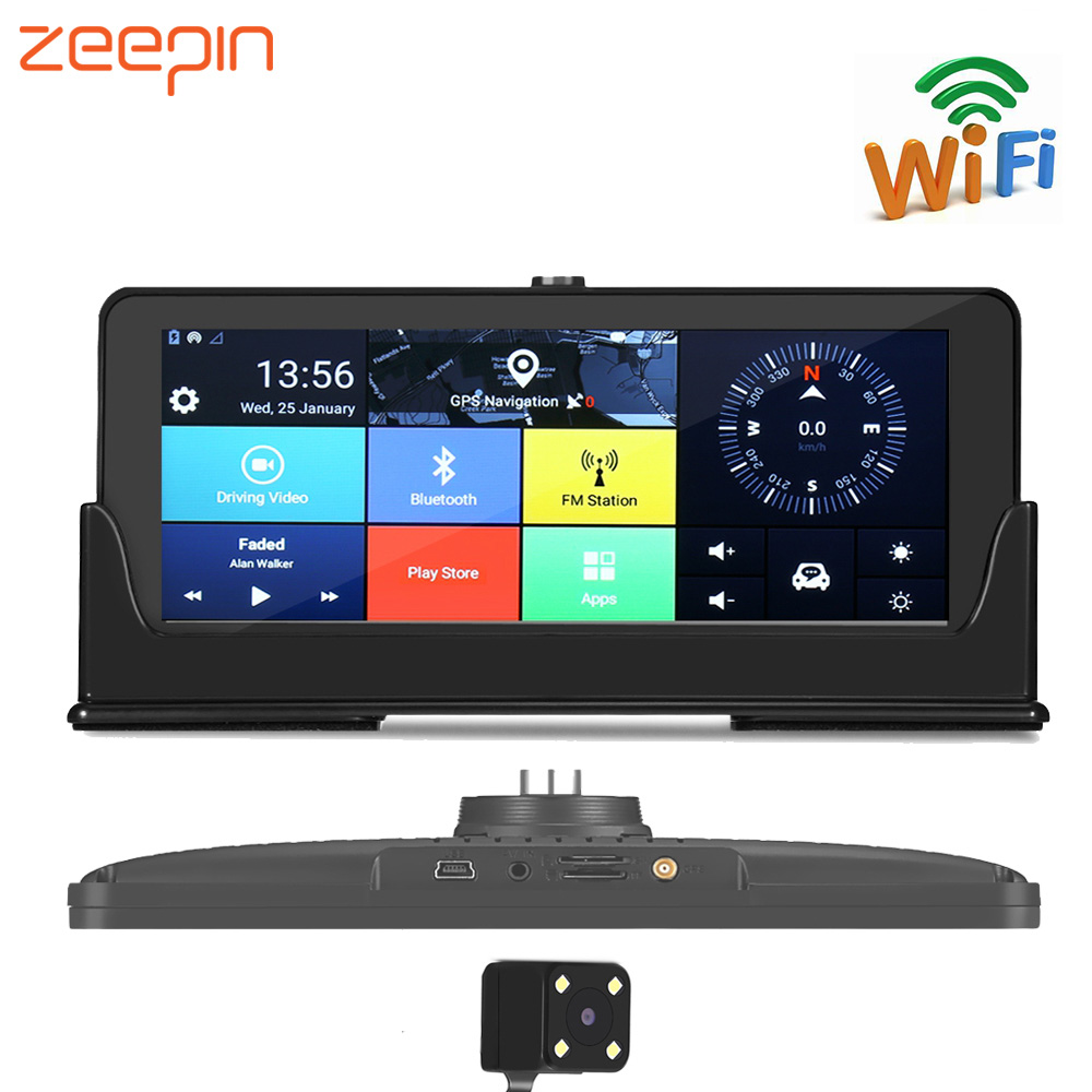 ZEEPIN 682 Android Dash Cam GPS Navigation 7 Inch Large Screen 4G/3G WiFi Bluetooth FHD 1080P Rearview Camera Driving Recorder