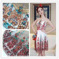 Beautiful Lace Fabric Flame Locating Flower Embroidery Clothing Fabrics Female Skirt Dress Fabric RS946