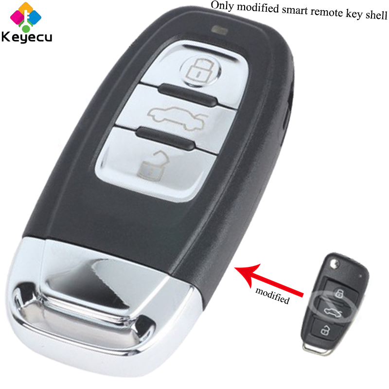 KEYECU Replacement Upgraded Flip Keyless-Go Smart Remote Car Key Shell - 3 Buttons & Insert Uncut Blade - FOB for Audi A6L Q7 keyecu replacement remote key 2 buttons