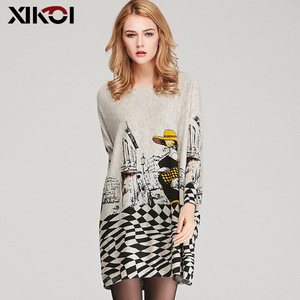 Image 3 - XIKOI Free Size Autumn Women Long Sweaters Slash Neck Batwing Sleeve New Printed Pullovers Female Loose Casual Knitted Sweaters