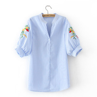 summer White and Striped Embroidered Women Casual Shirts Flower Pattern half sleeve Square Collar Ladies Blouses Plus Size Tops