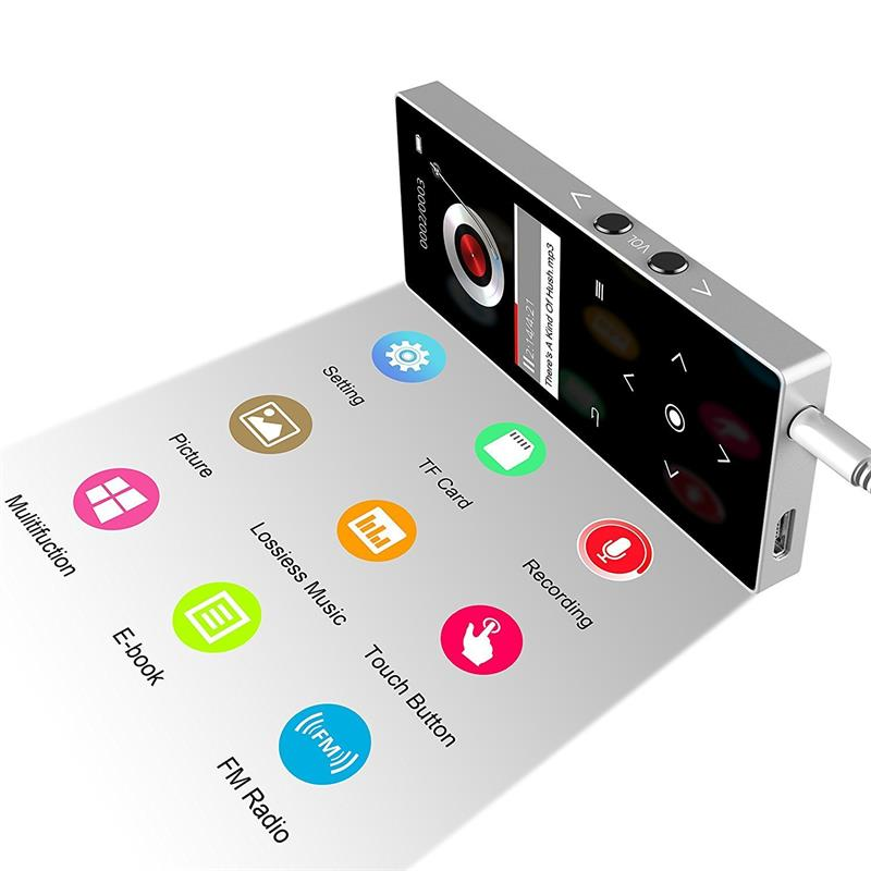 16GB Bluetooth MP3 Music Player with Speaker Touch Button HiFi Quality Sound Lossless Player with FM + Free Gift mp3 player case