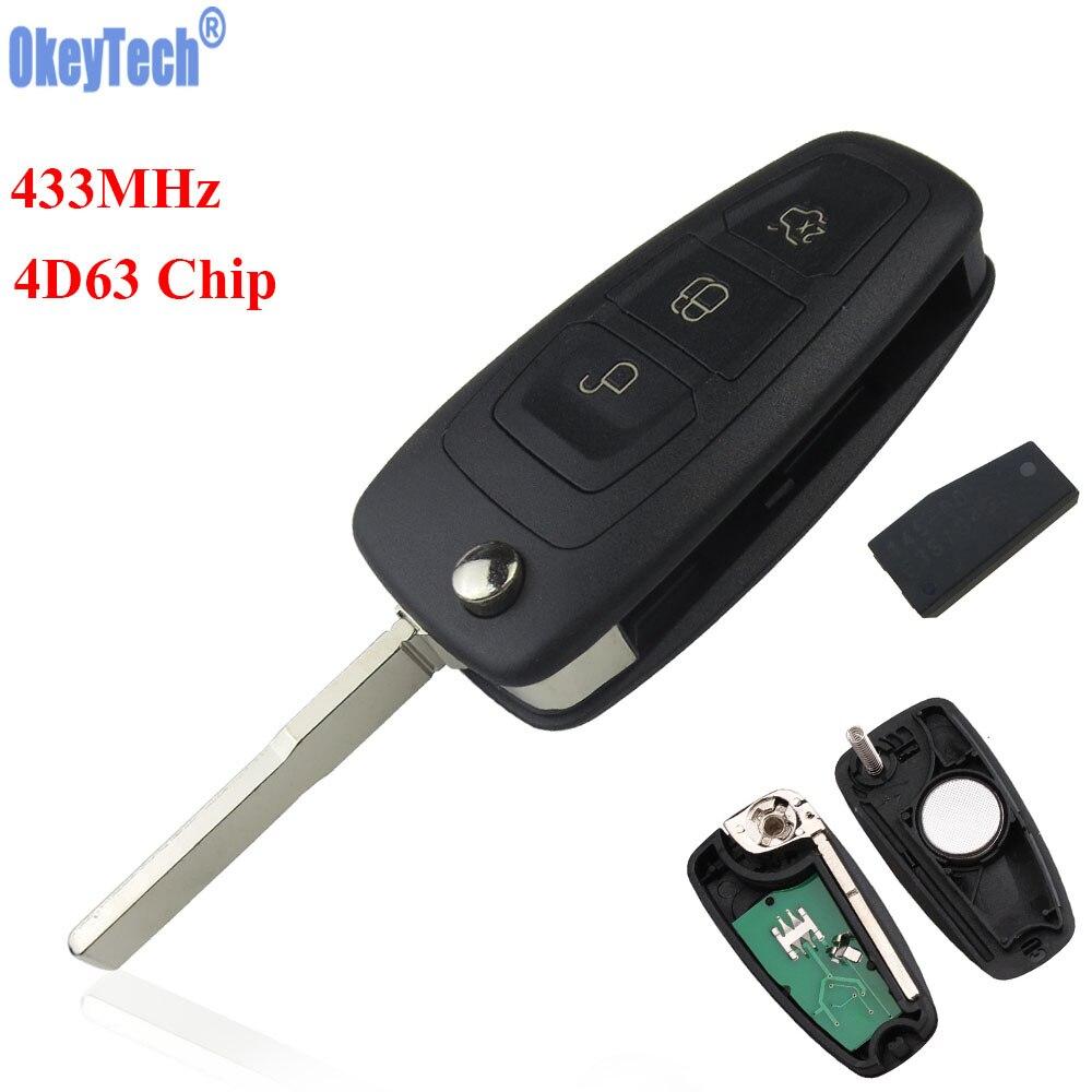 OkeyTech 433 MHz 4D63 Chip 3 Tasten Ersatz Flip Folding Auto Remote Key Fob Keyless Entry für FORD Focus Fiesta HU101 klinge