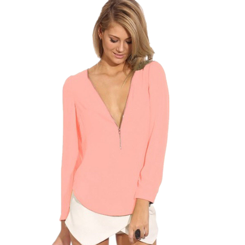 CUHAKCI Women Chiffon Blouse Shirts Deep V Neck Sexy Shirts Long Sleeve Solid Tops Casual Shirt Blusas Feminina Plus Size Shirts Islamabad