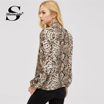 0fb56c8cddf0a4 Sheinside Elegant Women Blouse Tie Neck Snake Skin Top Office Ladies Blouses  Long Sleeve Shirts 2018