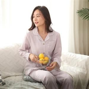 Image 5 - Hot sale Yarn dyed 100% cotton Couples pajamas sets women and men sleepwear long sleeve Fresh soft exquisite pyjamas women