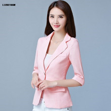 2017 Women Slim Short Formal Blazers and Jackets Woman Short Sleeve Plaid Suit Blazer Female Blazer Mujer Pink Blue Gray XXXL