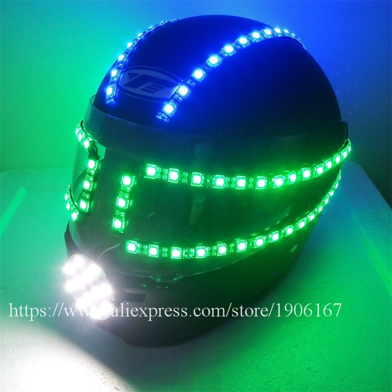 Colorful led luminous robot helmet01