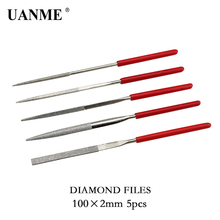 UANME 5pcs 100mm Diamond Needle File  Mini Rasp Wood Carving Metal Hand File Set Microtech Hobby Hand Needle 5pcs set rotary burr set wood carving file rasp power drill bits large cone ball oval