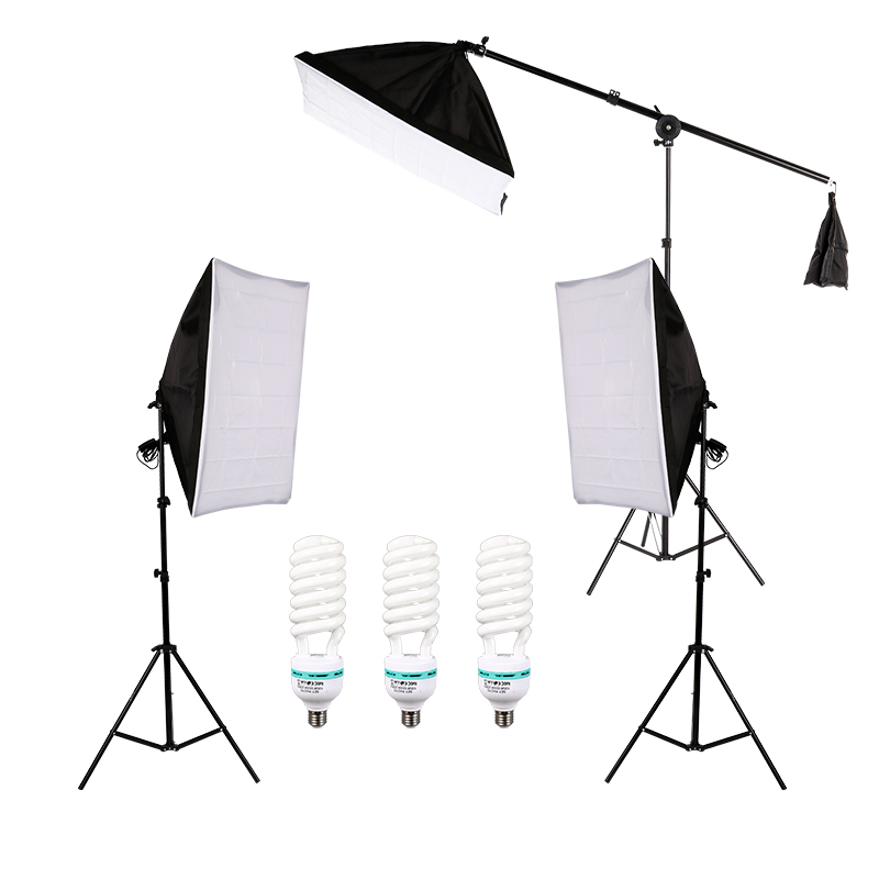 Photography Photo Lighting Kit With 5500K 135W Daylight Studio Bulb Light Stand Square Cube Softbox Cantilever Bag
